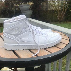 All white Air Jordan 1 mid
